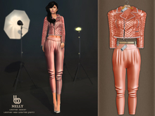 Bens Boutique - Nelly Leather Jacket & Waisted Pants Coral