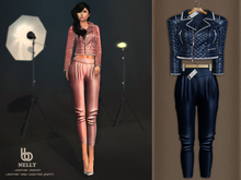 Bens Boutique - Nelly Leather Jacket & Waisted Pants Navy