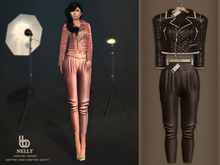 Bens Boutique - Nelly Leather Jacket & Waisted Pants Brown