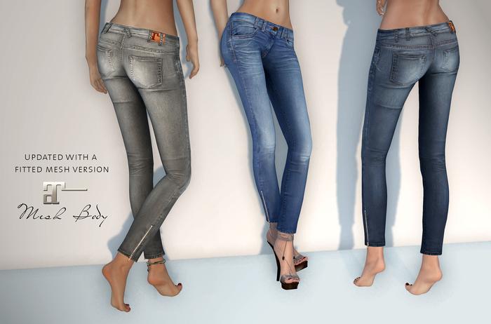 Maitreya Mesh Zipper Skinny Jeans * Fatpack