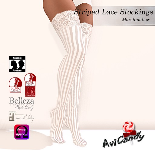 AVICANDY Striped Lace - Marshmallow