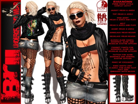 Second Life Marketplace Rhianonn Punk Rock Style Complet Outfit