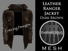 *ED Mens Mesh Dark Brown Leather Ranger Jacket - Solo
