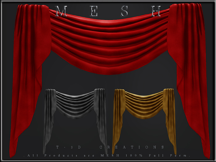 T-3D Creations [ Curtain Display ]  MESH - Full Perm -