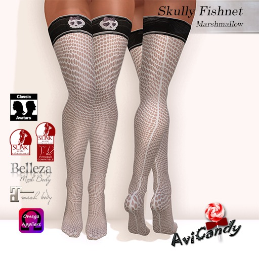 AVICANDY Skully Fishnet - Marshmallow