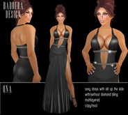 BD-Ona black silk diamond gown dress slit sexy erotic dance ball evening party