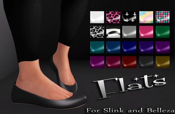 Mute. Flats - Black for Slink Flat feet and Belleza