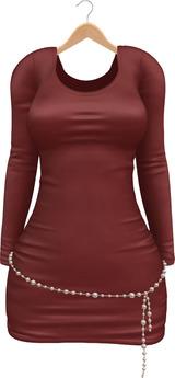 Blueberry Erica - Maitreya Lara & Belleza Venus & Lola's - Satin Dresses & Pearl Belts - Red