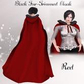 Black Fur Trimmed Cloak- Red