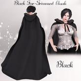 Black Fur Trimmed Cloak- Black