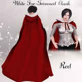 White Fur Trimmed Cloak- Red