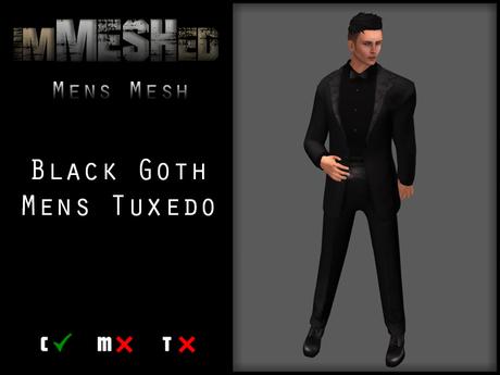 imMESHed - Black Goth Mens Tuxedo
