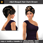 A&A Bisquit Hair Dark Brown (Special Color). Updo with colorable/show/hide cookies. Promo!