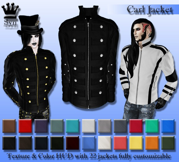 [Syn] Carl Jacket (Texture & Color HUD, Materials Enabled)