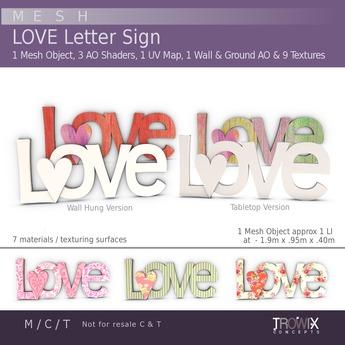 Trowix - LOVE Letter Sign Mesh Pack