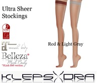 Klepsydra - Ultra Sheer Stockings- Red&L.Gray -Appliers Only