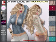 !FP! Buttoned Shirt Pack 8 Colors All Layers - Slink Physique TMP KL Lena Body Maitreya Omega Banned Lolas and more