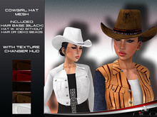N1CO Cowgirl HAT (w. and wo. hair) + texture HUD (mesh) Bagged