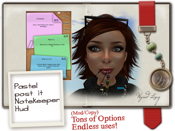 -W-[ Note Keeper Hud ] Post it Pastel  (mod/copy) Get organized