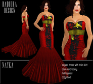 BD-Nayka red black gold evening gown dupioni silk asian touch flexi dress