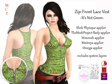 [rua modena] Zip-Front Lace Vest - Not Green (appliers forMaitreya, TheMeshProject Body, Slink Physique, WowMeh & Omega)