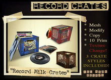 The Prop Shoppe :: Record Crate Set ( MESH Milk Crates with Records & Texture Change )
