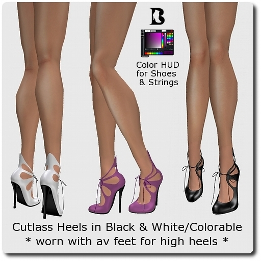 Blackburns Cutlass Heels in Black & White/Colorable for Mesh High Feet