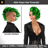 A&A Kaya Hair Emerald (Special Color). Womens side cut punk hairstyle w/menu colorable streaks. Promo Price!