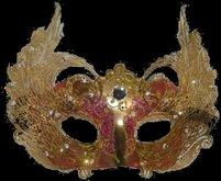 *Goddess* Gold & Red Filigree Mask