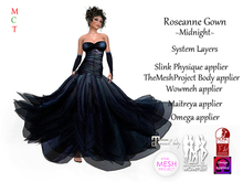 Roseanne Gown - Midnight (Includes Maitreya, Omega, Slink Physique, TheMeshProject & Wowmeh appliers)
