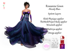 Roseanne Gown - MoodyBlue (Includes Maitreya, Omega, Slink Physique, TheMeshProject & Wowmeh appliers)