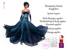 Roseanne Gown - Kingfisher (Includes Maitreya, Omega, Slink Physique, TheMeshProject & Wowmeh appliers)