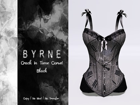 (BYRNE) CrackInTime Black Corset w/ Ribbons