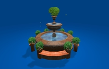 """4 prim """"Victorian Fountain Round w Animated Water, 9 Pots w Plants & 4 Benches Celtic Pack"""" any texture (mod, copy)"""