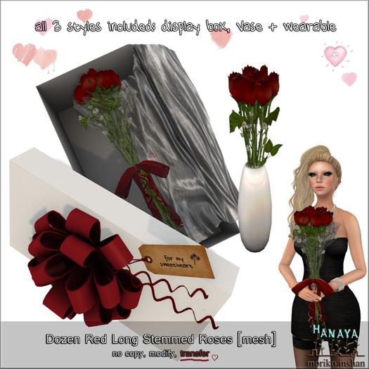 -Hanaya- Dozen Red Long Stemmed Roses [mesh]