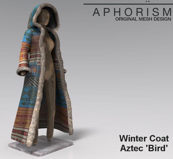 !APHORISM! Winter Coat - Aztec 'Bird'