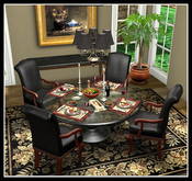 DINNER PARTY II TABLE FOR 4 COPY Round Black Pedestal glass