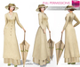 %50WINTERSALE FULL PERM CLASSIC RIGGED MESH Women's Cream Long Sleeve V-Neck Vintage Edwardian Dress Outfit