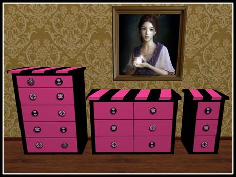 Re Black Pink Dresser Nightstand Set