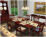 Dinner Party Mahogany Crossback Dining Set for 6 Mesh