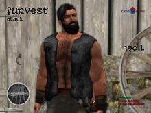 GOR CON Male Fur Vest Black