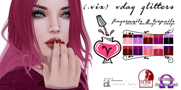 (.vix) Vday Glitters ~ Slink, Maitreya & Omega Nails