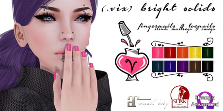 (.vix) Bright Solids ~ Slink, Maitreya & Omega Nails UPDATED