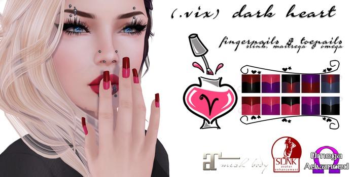 (.vix) Dark Heart ~ Slink, Maitreya & Omega Nails