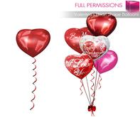 Full Perm Mesh Valentine's Heart Shape Balloons 1LI