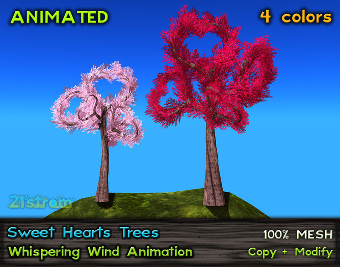 Valentine Sweet Heart Tree - Heart Shaped Mesh Trees, 4 colors, Wind Effect