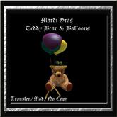 Mardi Gras Teddy Bear & Balloons