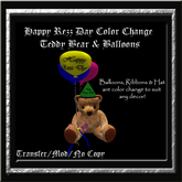 Happy Rezz Day Color Change Teddy Bear & Balloons