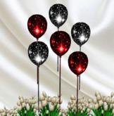 * SET OF 6 Red / Black Celebration Balloons with Resizer Menu