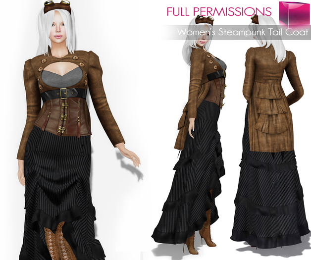 FULL PERM CLASSIC RIGGED Women's Steampunk Brown Long Sleeve Keyhole Cut Out High Neck Jacket with Ruffled Tail